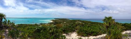 The view from one of the trails on Stocking Island. Elizabeth Harbor is on the left, Exuma Sound is on the right.