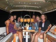 From left to right: me, Natalie, JR, Mitchell, Scott, and Kim chilling on Sea Major for the evening! Photo courtesy of Natalie!