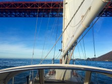Heading under the Golden Gate Bridge for the last time
