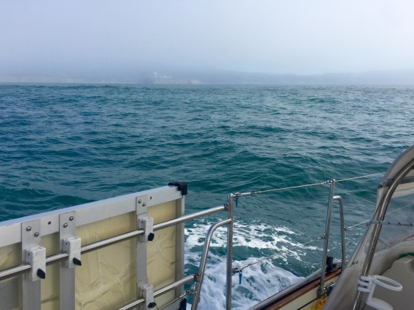 The view coming into Half Moon Bay while we were still in the fog bank.