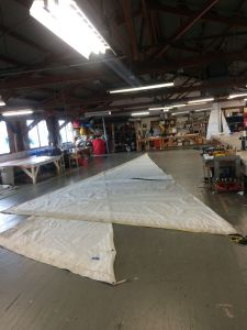 Both our genoa and staysail need to have their sacrificial sailcloth replaced.