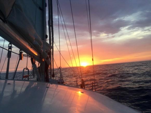 Sailing into the sunrise across the Sea of Cortez.