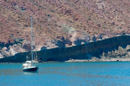 Anchored on the east side of Isla San Francisco in a successful attempt to keep out of the way of coromuels.