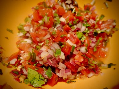 Pico de gallo when we find some fresh produce. This goes great with black beans and rice.