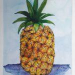 sailing luna sea watercolor painting pineapple