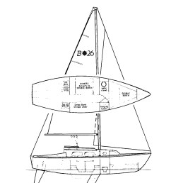 this masthead sloop rig is a utilitarian marvel the hinged mast easily folds down for trailering the anchor chain stows in a locker  [ 1126 x 1371 Pixel ]