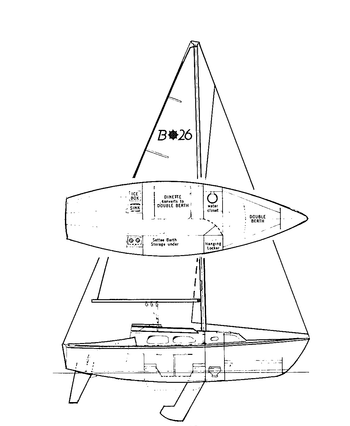 hight resolution of this masthead sloop rig is a utilitarian marvel the hinged mast easily folds down for trailering the anchor chain stows in a locker