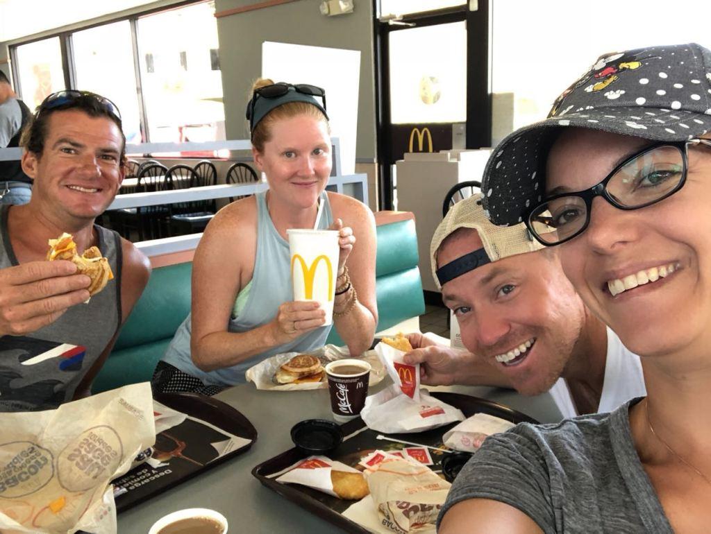 Satori and Seas Life enjoying breakfast at McDonalds