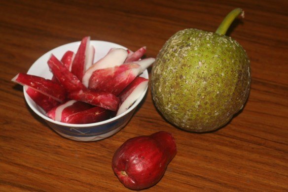 "We tried Jamaican ""apples"" which were spongy and tasted kind of floral, and the traditional fire-roasted breadfruit."