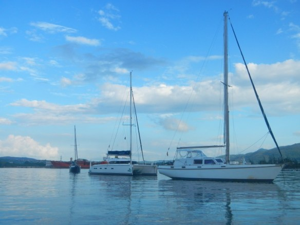 Always room to squeeze a 50ft catamaran between us and a boat that we thought was already too close.