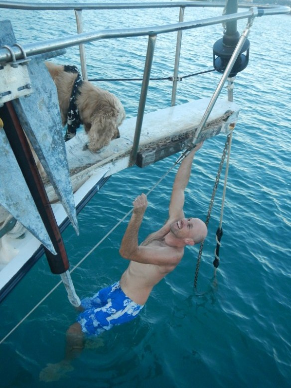 """Guess this is why Serena calls him """"Monkey""""... Lee climbing aboard after changing the prop."""