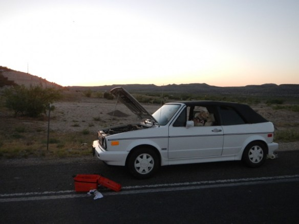Broken down in he middle of nowhere, west Texas, waiting for a tow.
