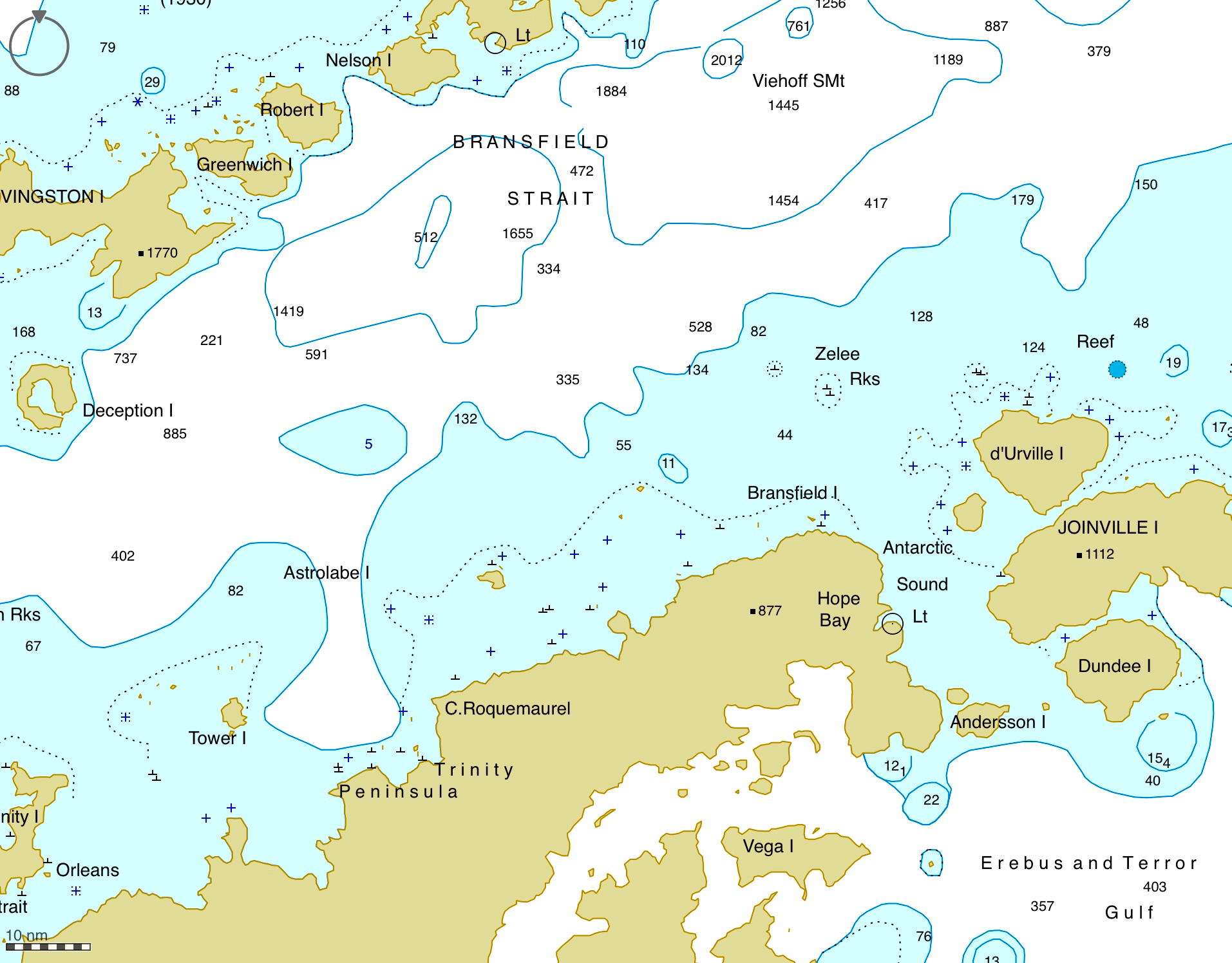 Navigation chart of Bransfield Strait