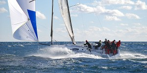 Today's racer, like this J/111, are great racing platforms. Even with the throttle open downwind, they're steady on their feet.