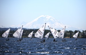 Leiter Cup racing on Lake Washington. Jan Anderson photo.