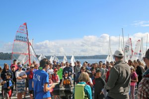 120 sailors were at the skipper's meeting. Adults may not be racing as much, but the kids sure are!