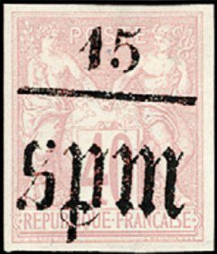 Первая марка Сен-Пьер и Микелон, 1885