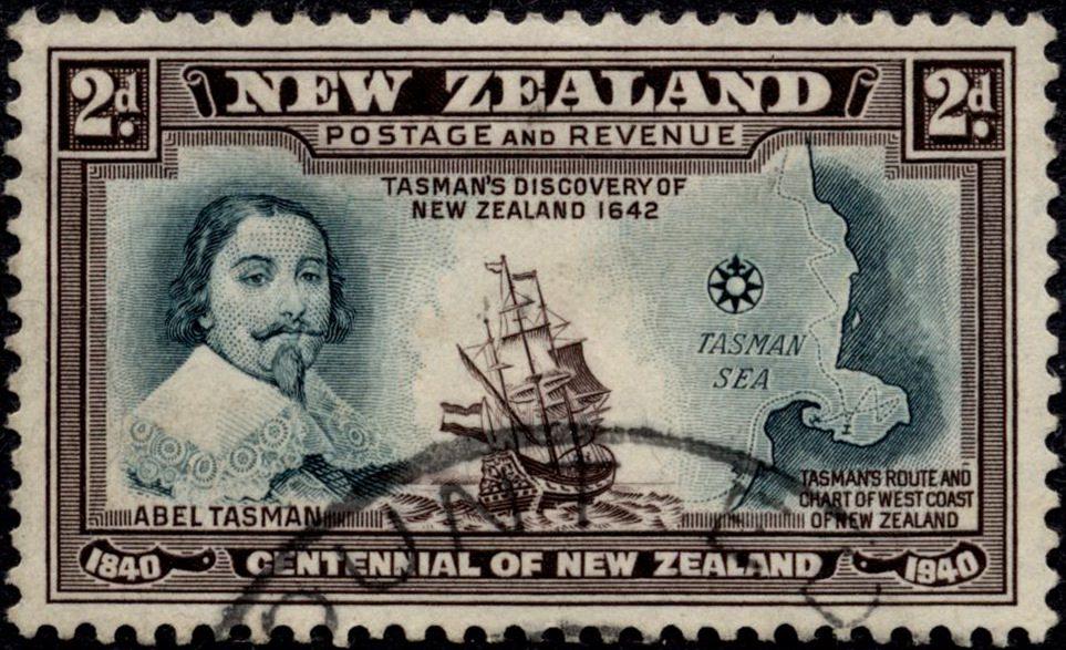 Европейцы открывают Новую Зеландию — Абель Тасман на марках