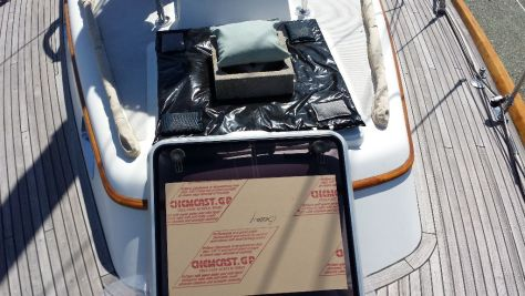 Rebuilt hatch with plywood placeholder