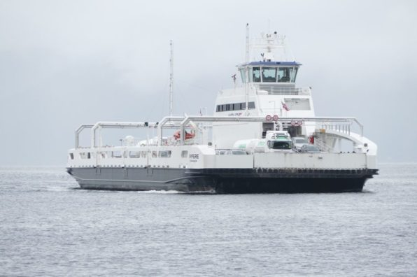 "The world's first fully electric car ferry ""Ampere"" in Sognefjord, Norway"
