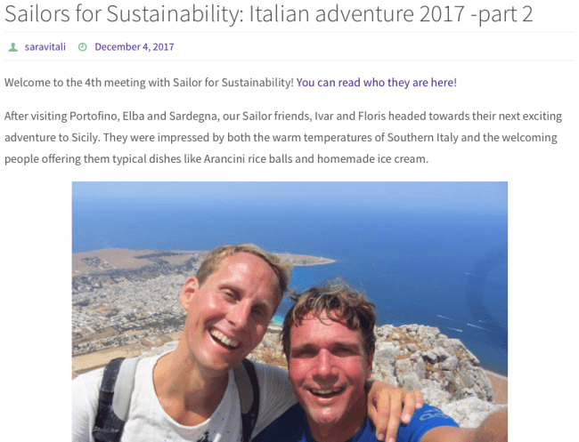 Sailors for Sustainability at Sustainable Tourism World about Italy and Land Life Company