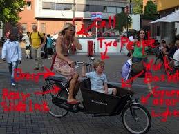 Dutch mom cycling on bakfiets