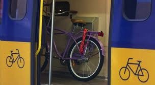 Cycling in Amsterdam - Bike in train