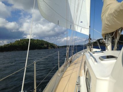 Beautiful inshore waterway while we're heading for Lyngøya