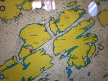 iPad view of Lyngøya and our position (red arrow)