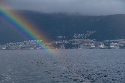Leaving Bergen with a rainbow