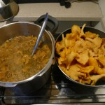 Golden chanterelle soup and risotto in the making