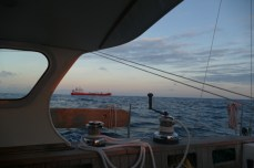 Busy traffic in shipping lane