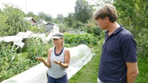 Helena explains permaculture to Ivar
