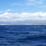Blue sea and white mountains