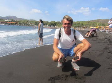 Black sand beach on Vulcano