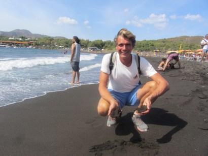 Black sand beach on Vulcano