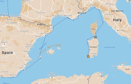 Our route from Porto Liscia to Isola di San Pietro