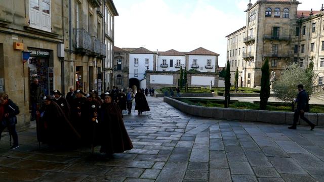 Camino hikers in Santiago de Compostela