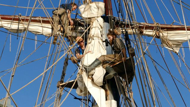 Trainees in the mast