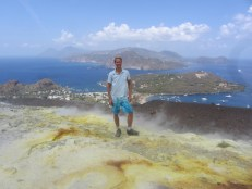 Vulcano's sulphuric crater with a view