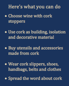 Here's what you can do to stimulate cork as a sustainable solution