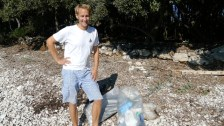 Beach clean-up on Silba