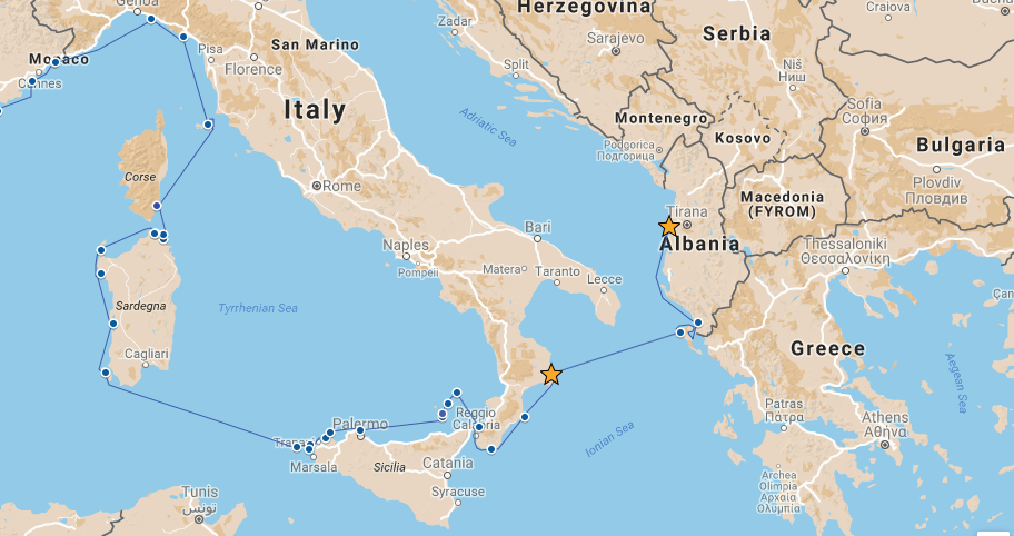 Our route from Crotone to Durres