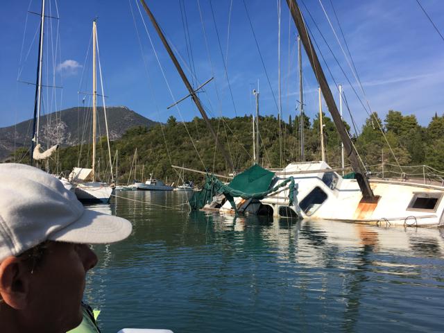 Shipwrecks as moorings in Tranquil Bay
