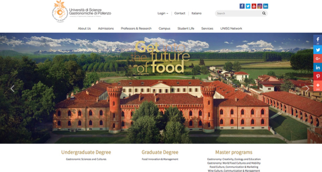 University of Gastronomic sciences website