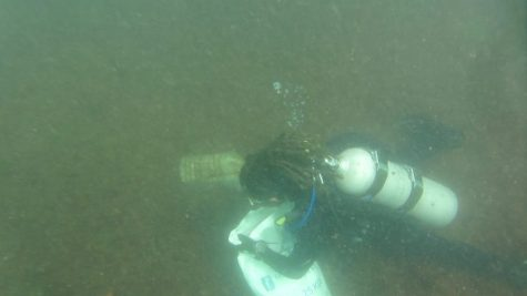 Collecting plastic waste from the sea bottom