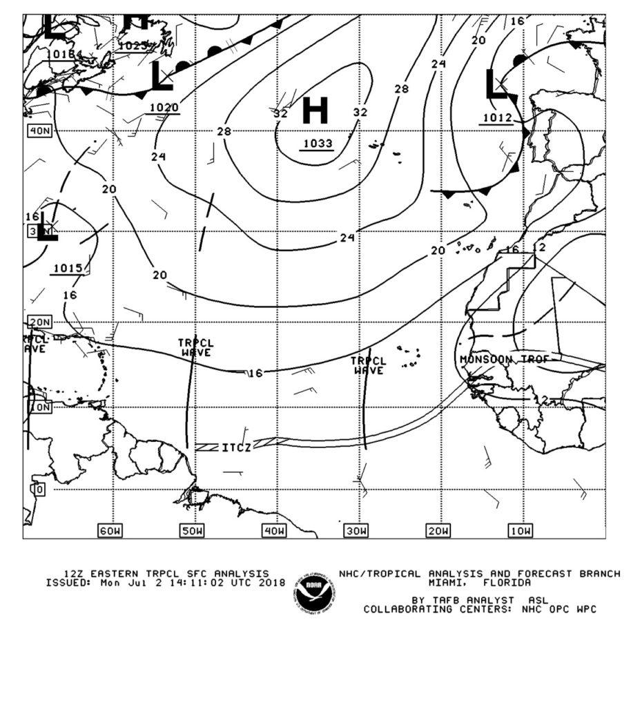 NOAA weather chart indicating Tropical Waves