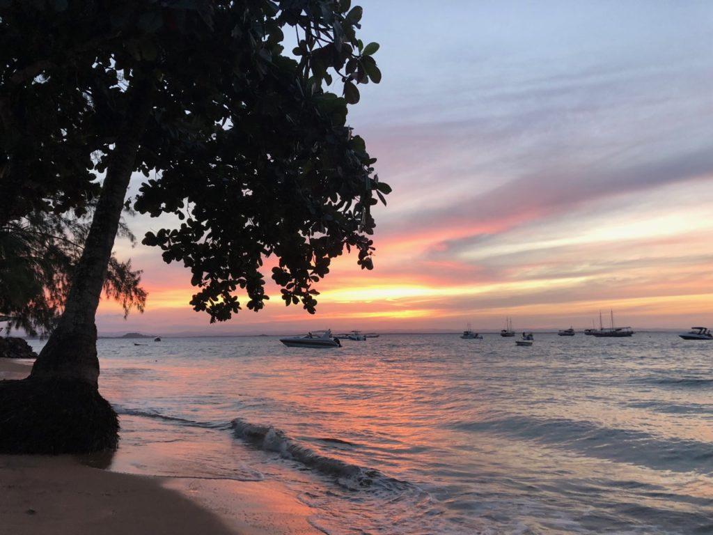 Beach club sunset view