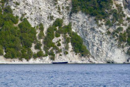 Steep cliffs on Kalamos' neighboring island