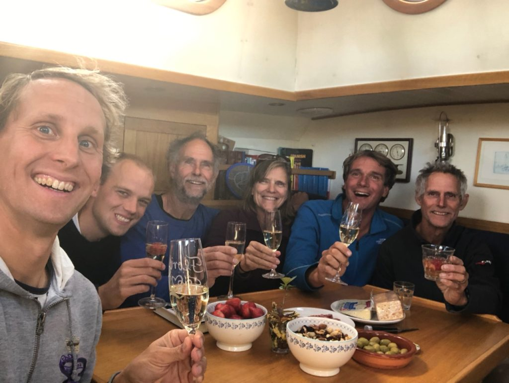Celebrating our arrival in Ushuaia with the Pazzo crew